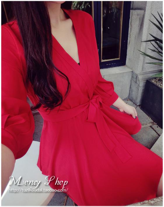 รับตัวแทนจำหน่ายชุดเดรสแฟชั่นเกาหลีสีแดงน่ารักๆ