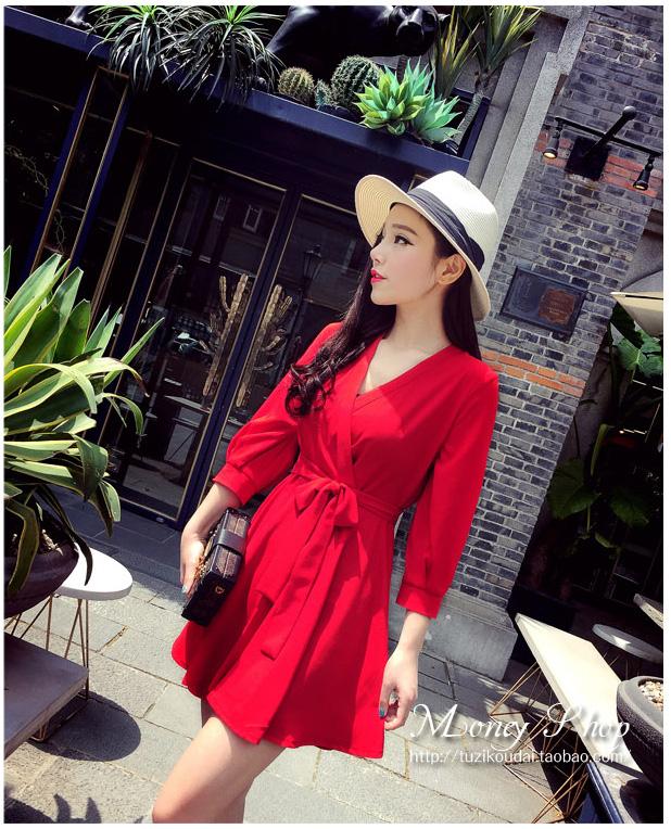 รับตัวแทนจำหน่ายชุดเดรสแฟชั่นเกาหลีสีแดงสวยๆ