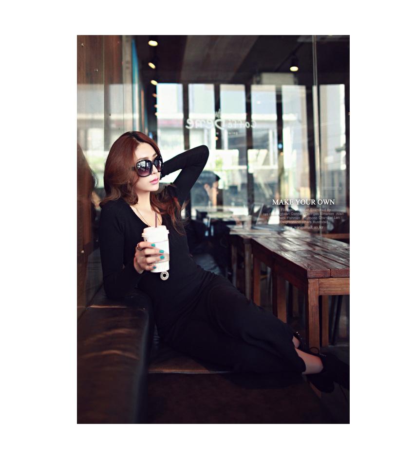 ชุดเดรสแรัดรูปสีดำแขนยาวฟชั่นเกาหลีราคาถูก