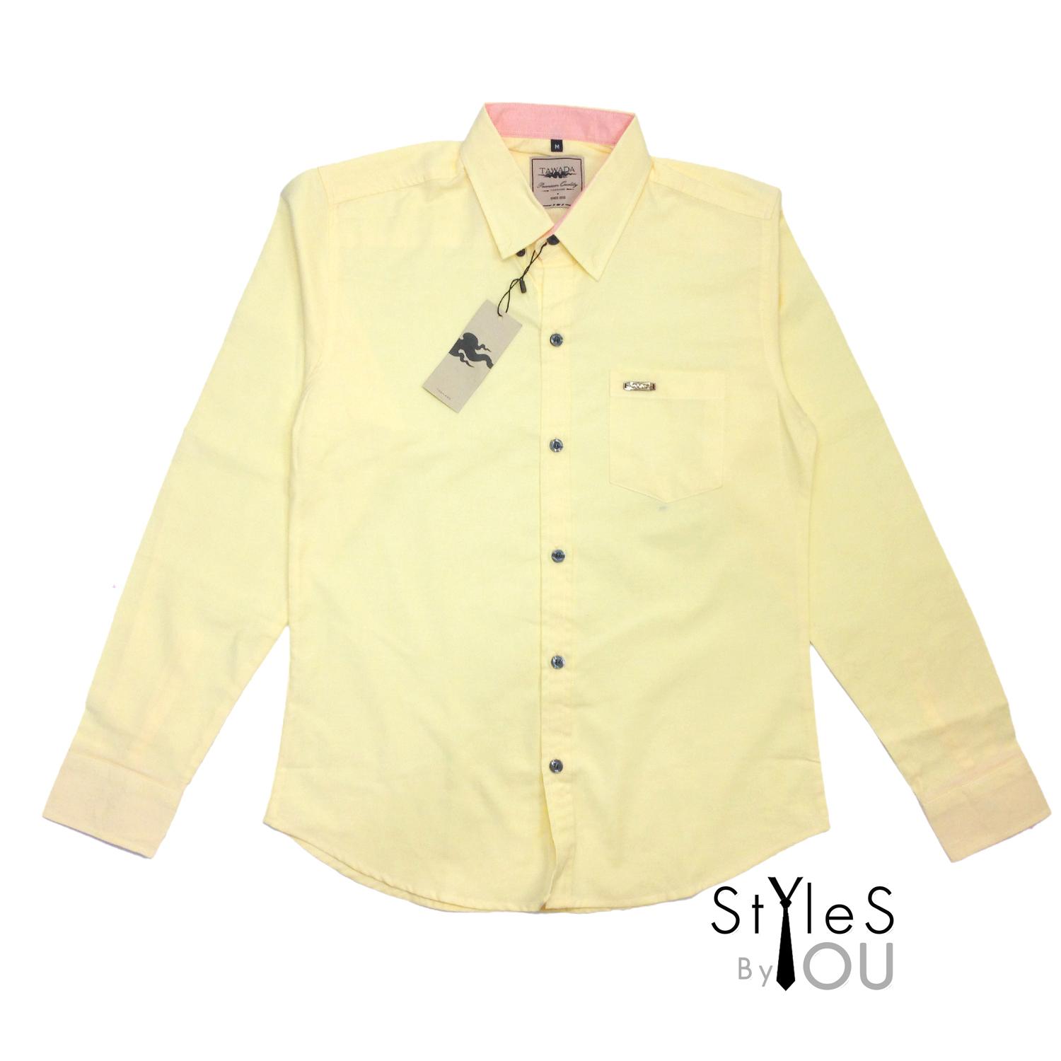 เสื้อเชิ้ต แฟชั่น สีพื้น สีเหลือง Pastel Shirt แขนสั้นและแขนยาว