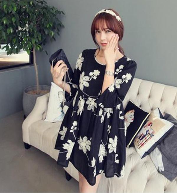 เดรสแฟชั่น ผ้าฝ้ายเกาหลี ปักลายดอกไม้ มีซับใน แบบสวม