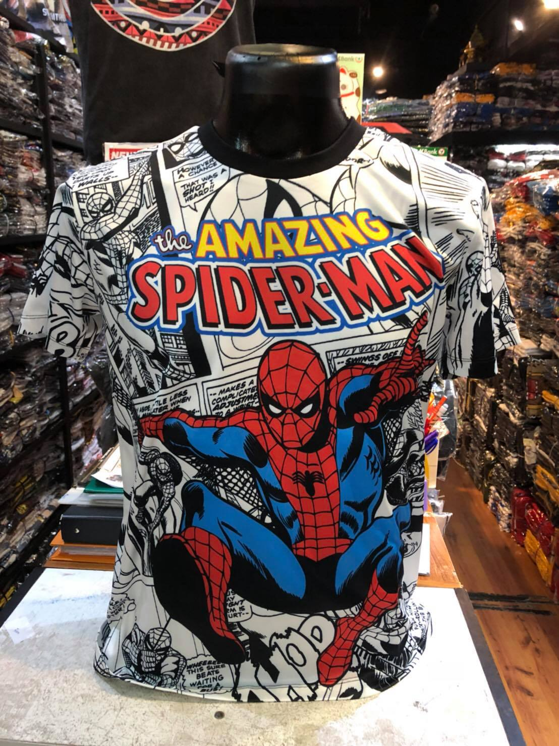 สไปเดอร์แมน ผ้า premium SCUBA (Amazing Spider man white CODE:1199)