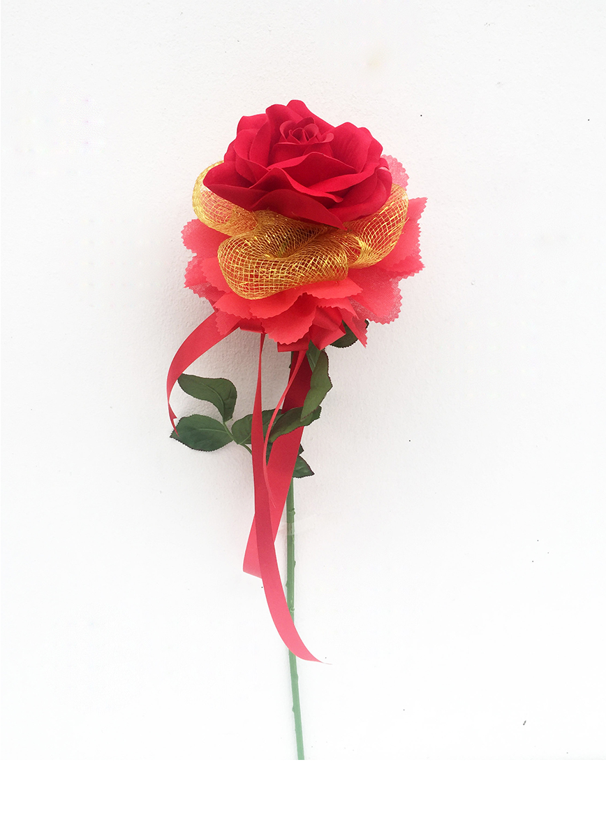 ช่อดอกไม้ประดิษฐ์กุหลาบแดง 1 ดอก รหัส 3095