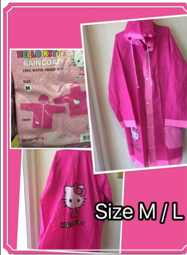 เสื้อกันฝนคิตตี้ ลิขสิทธแท้ ผ้า PVC แบบนิ่ม แพค 6 ชุด มี 2 size M/L