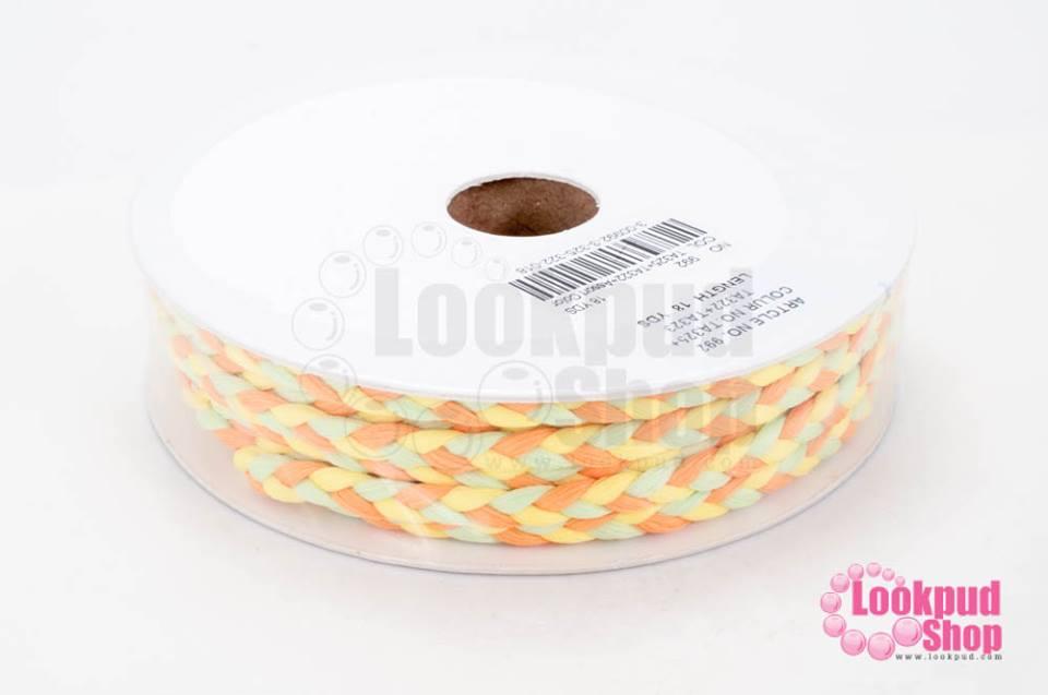 เชือกถักเปีย สีส้ม-เขียวอ่อน-เหลือง กว้าง 5 มิล (1ม้วน/18หลา)