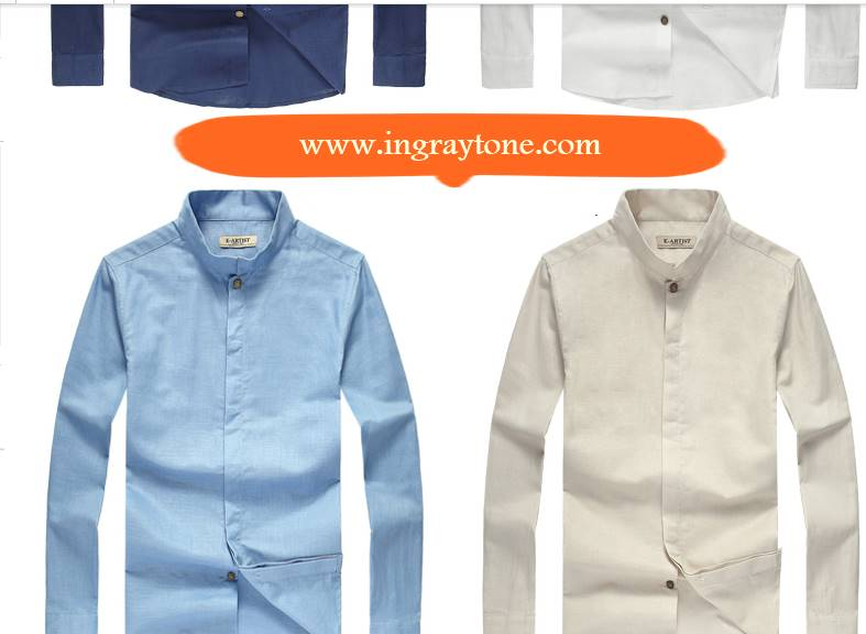 4สีจองราคาพิเศษ!!เสื้อเชิ้ตคอจีนแขนยาว แฟชั่น ปกตั้ง ซ่อนกระดุม Size No.37 39 41 43 ขาว เบจ น้ำเงิน ฟ้า สำเนา