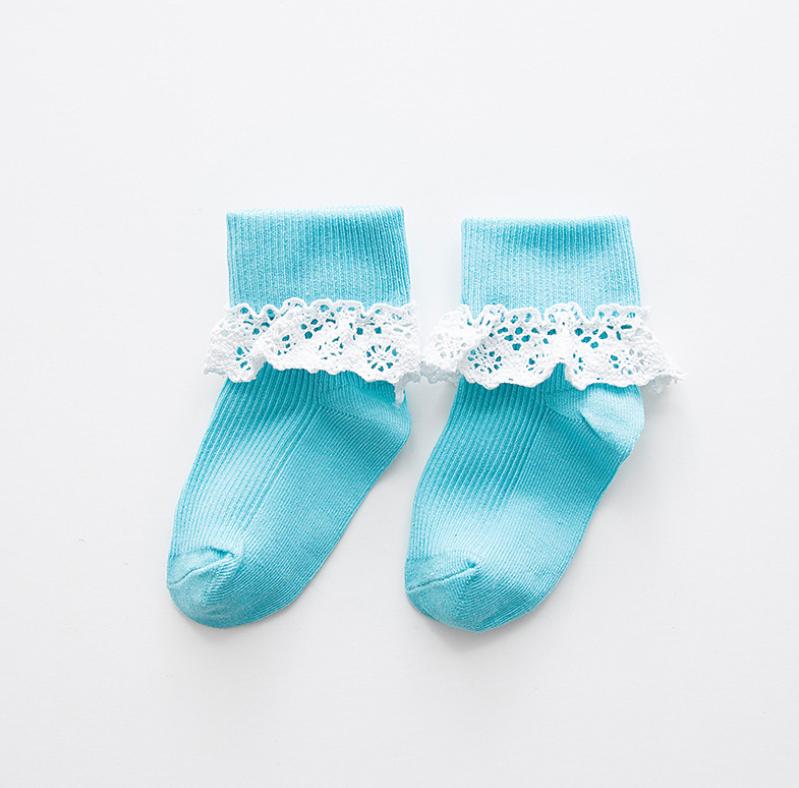 ถุงเท้าสั้น สีฟ้า แพ็ค 10 คู่ ไซส์ ประมาณ 1-3 ปี
