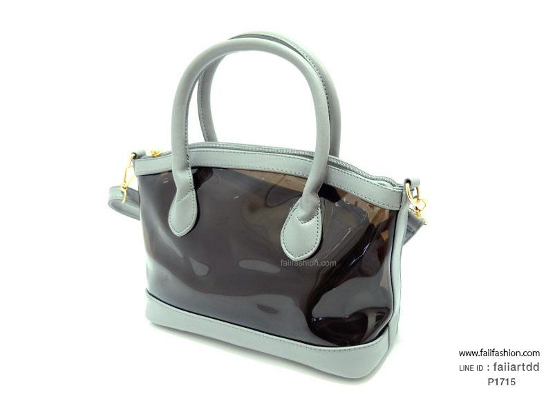กระเป๋าเนื้อพลาสติกสีใส ทรง Alma 10นิ้ว กระเป๋าอยู่ทรงสวย