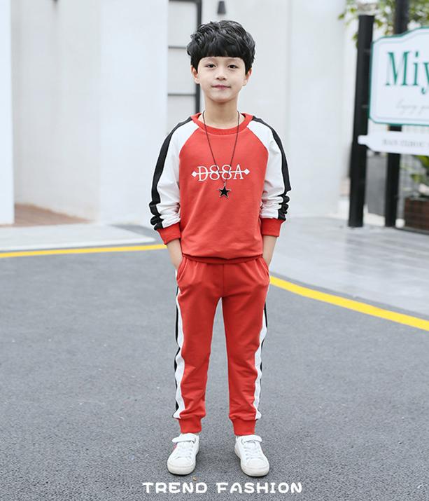 เสื้อ+กางเกง สีแดง แพ็ค 5 ชุด ไซส์ 120-130-140-150-160 (เลือกไซส์ได้)