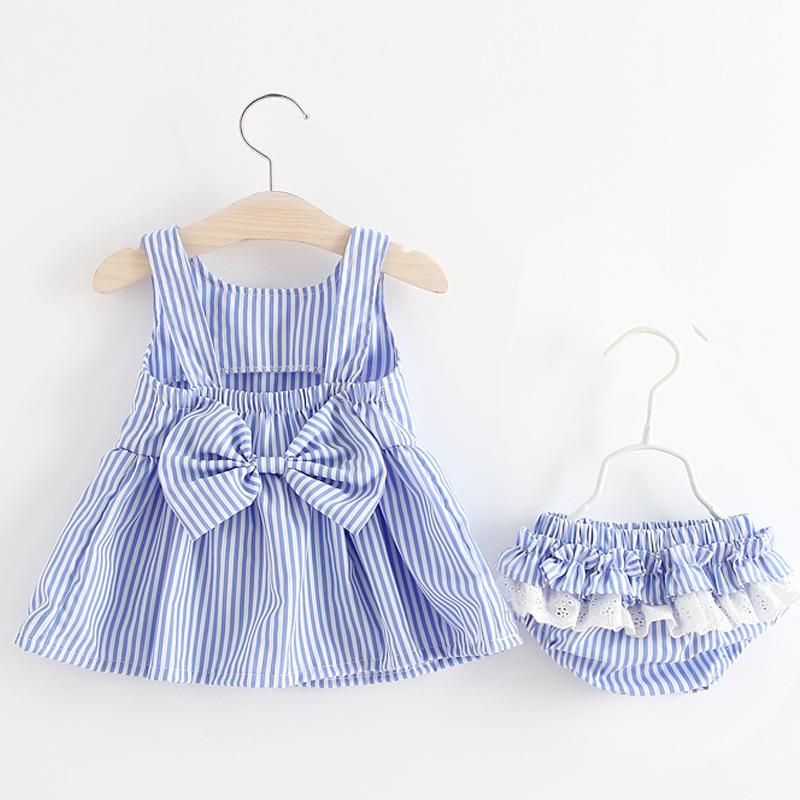 ชุดเดรสลายทางสีฟ้า+กางเกงใน แพ็ค 3 ชุด [size 6m-18m-2y]