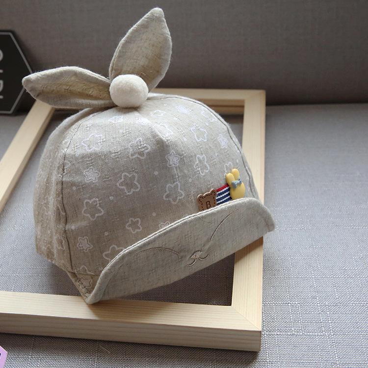 หมวกเด็กลายดาวสีน้ำตาลแต่งหูกระต่าย แพ็ค 3 ชิ้น