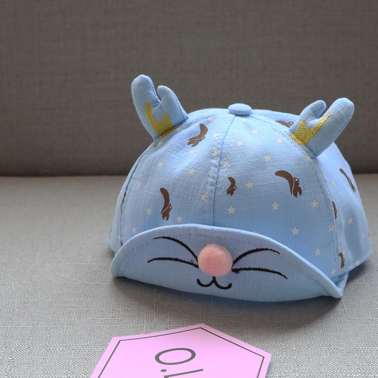 หมวกเด็กลายดาวสีฟ้าแต่งเขากวาง