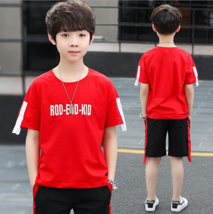 เสื้อ+กางเกง สีแดง แพ็ค 5 ชุด ไซส์ 130-140-150-160-170 (เลือกไซส์ได้)