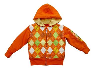 KWB144 Kidsplanet เสื้อผ้าเด็ก เสื้อกันหนาวเด็กชาย เสื้อสเวตเตอร์แจคเก็ตมีฮู้ด ซิปหน้า ลายข้าวหลามตัด สีส้ม เหลือ Size 12M