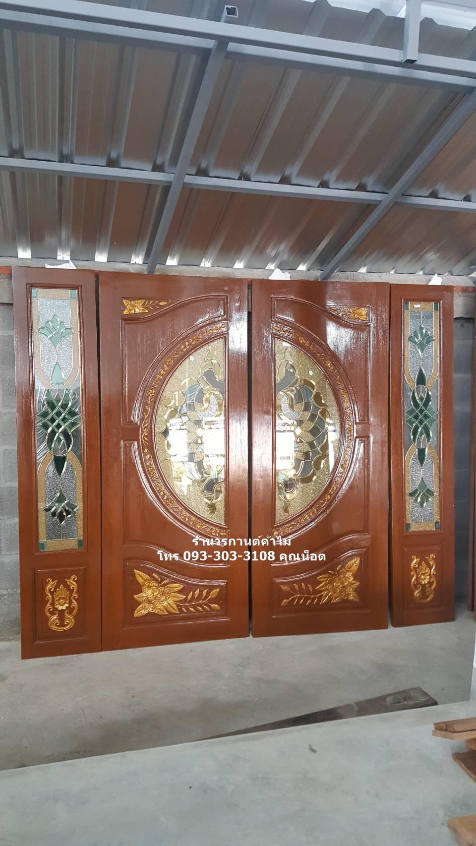 ประตูไม้สักกระจกนิรภัยแกะลีลาวดี ชุด4ชิ้น รหัส AAA147