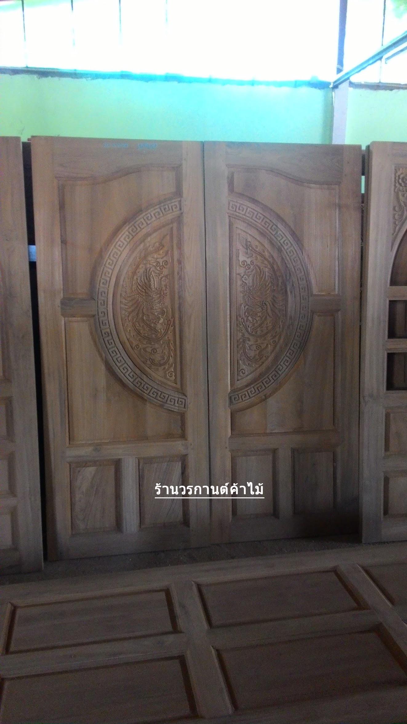 ประตูไม้สักบานคู่ ไม้สักเก่า เกรดA รหัส B23