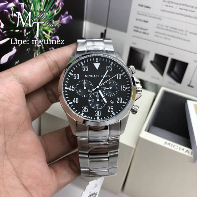นาฬิกาข้อมือ MICHAEL KORS รุ่น Gage Chronograph Black Dial Stainless Steel Watrch MK8413