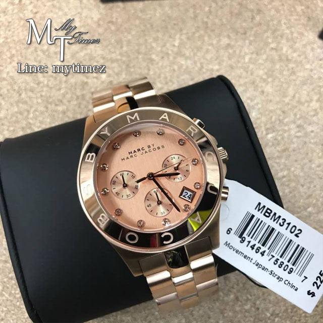 Marc by Marc Jacobs Blade Chronograph Rose Dial Ladies Watch MBM3102