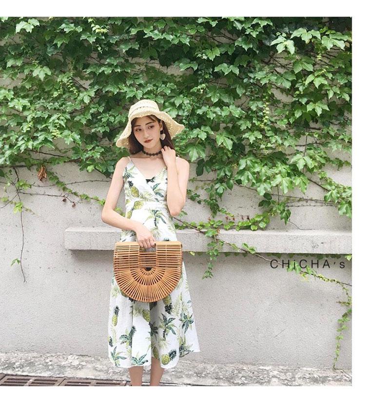 ชุดเดรส Pineapple X Cross Midi Dress สีขาว