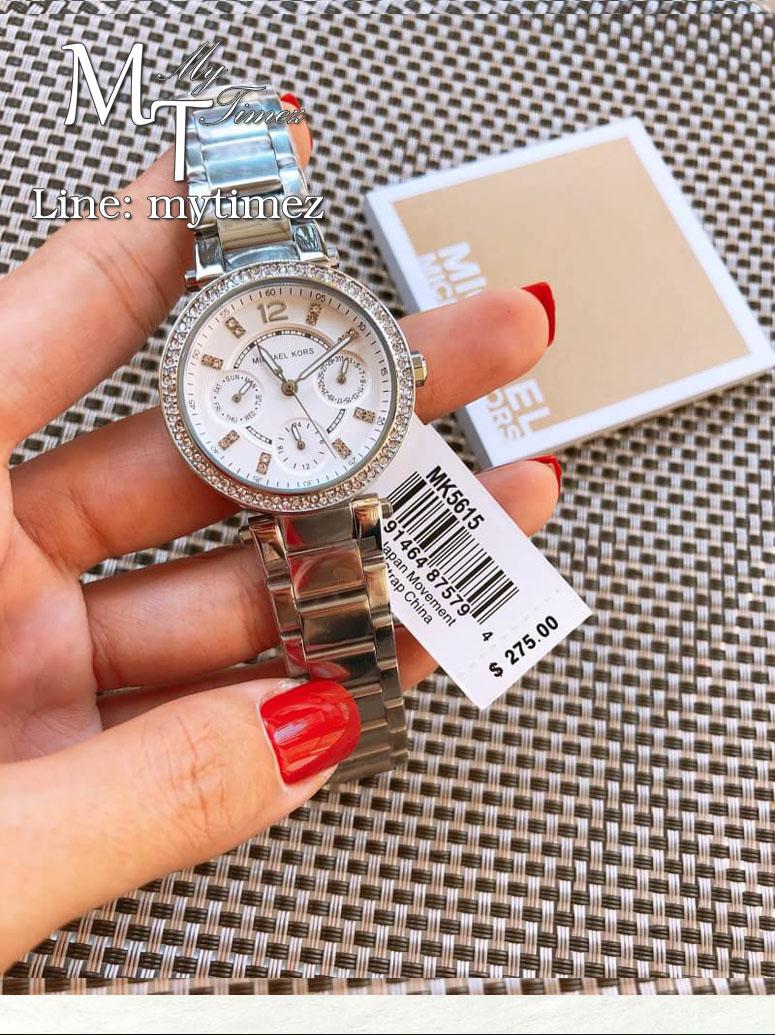 นาฬิกาข้อมือ MICHAEL KORS รุ่น Parker Multi-Function Silver Ladies Watch - MK5615