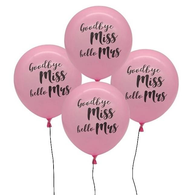 ลูกโป่ง Goodbye Miss, Hello Mrs. (สีชมพู) (อุปกรณ์สำหรับงานปาร์ตี้สละโสด Hen Night Party) สำเนา