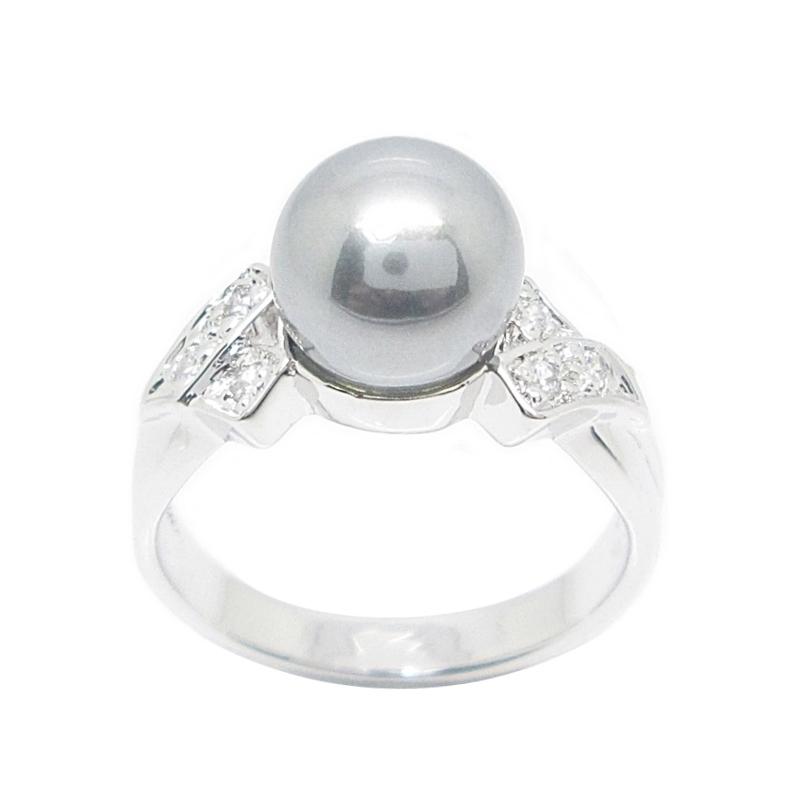 แหวนมุกเซาท์ซีประดับเพชรชุบทองคำขาว