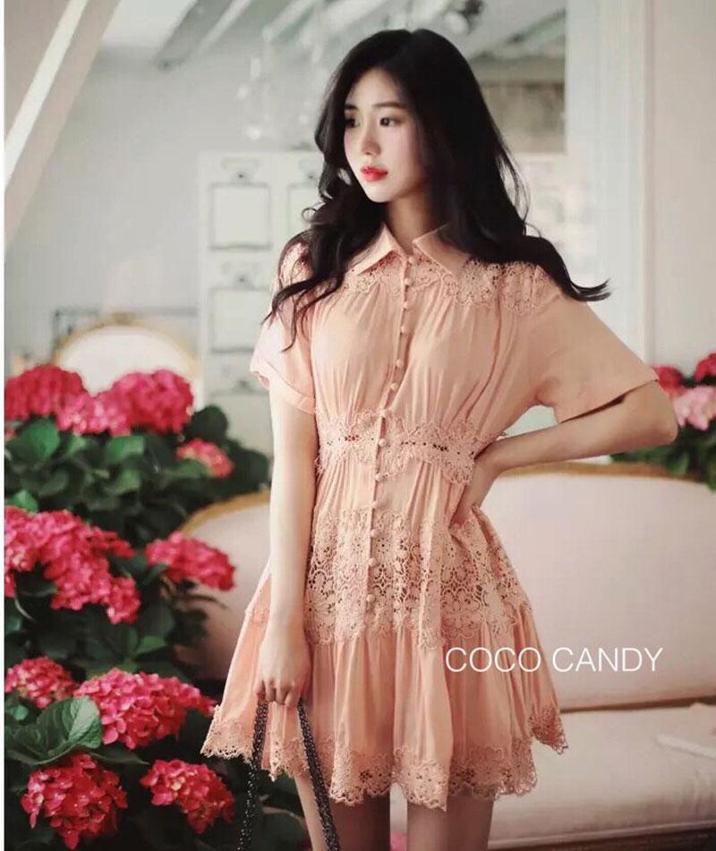 ชุดเดรสแฟชั่น Haidi Lace Collar Dress สีโอรส