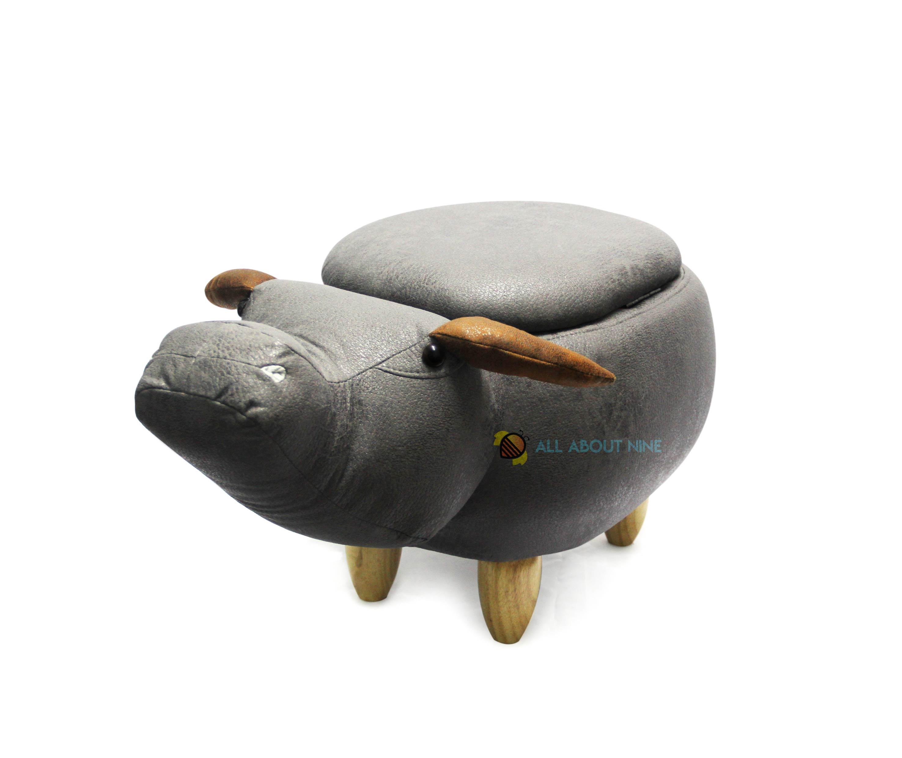 เก้าอี้เก็บของได้รูปควาย สีเทาดำ