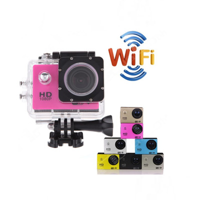 กล้องติดหมวกกันน็อค Sport Action camera HD 1080P Wifi (สีชมพู)