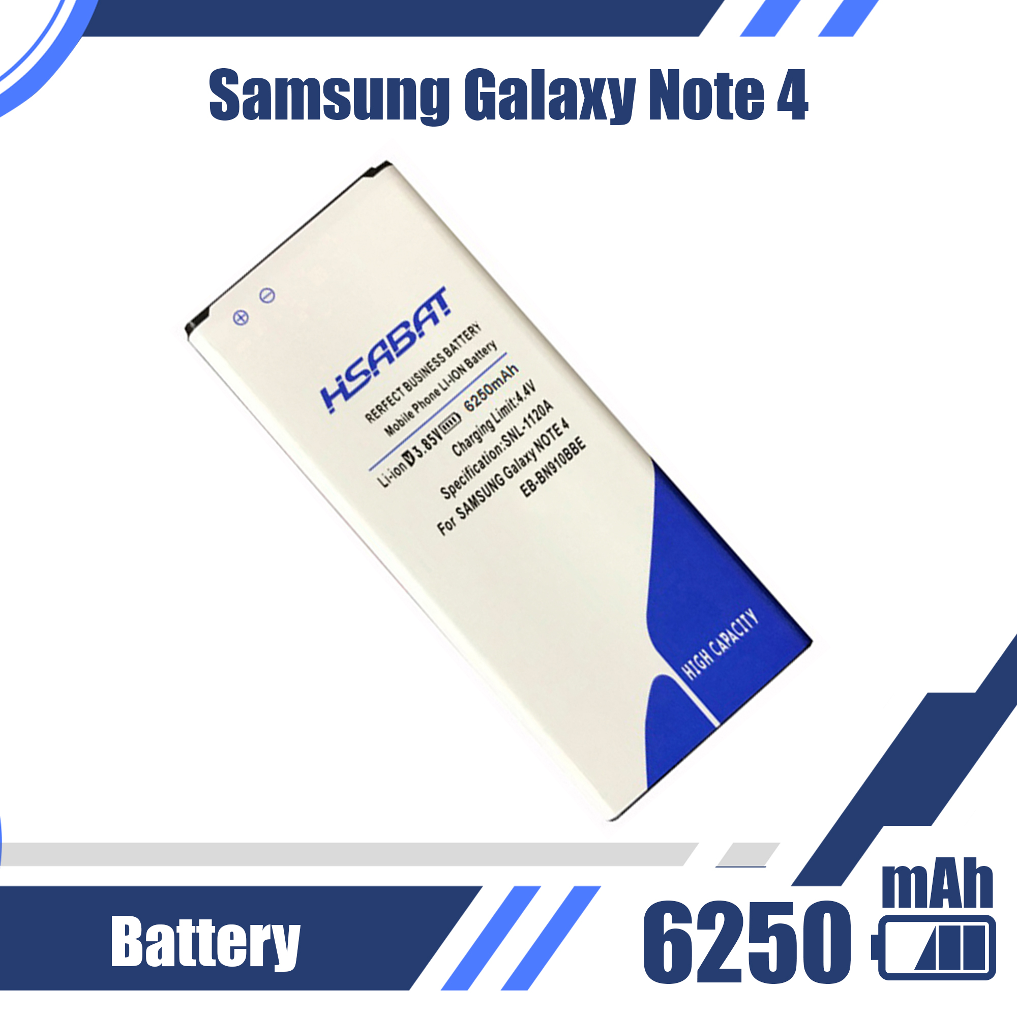 6250mAh EB-BN910BBE Battery For Samsung Galaxy Note 4 Note4 N910H N910A N910C N910F N910FQ N910X N910W N910V N910P N910T