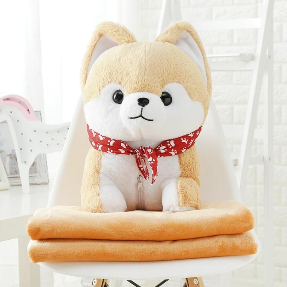 SC0007 Free ปักชื่อบนผ้าห่ม!! ตุ๊กตาหมอนผ้าห่ม ชิบะสีน้ำตาลอ่อน น่ารักมากๆ ตัวใหญ่เต็มกอด