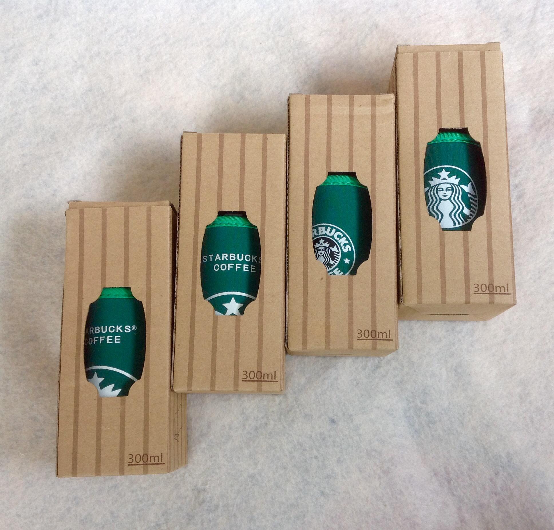 พร้อมส่ง setเดียวจ้า Starbucks ขวดแก้วทรงโบว์ลิ่งขนาด 300 ml พร้อมปลอกฉนวนกันอุณหภูมิ