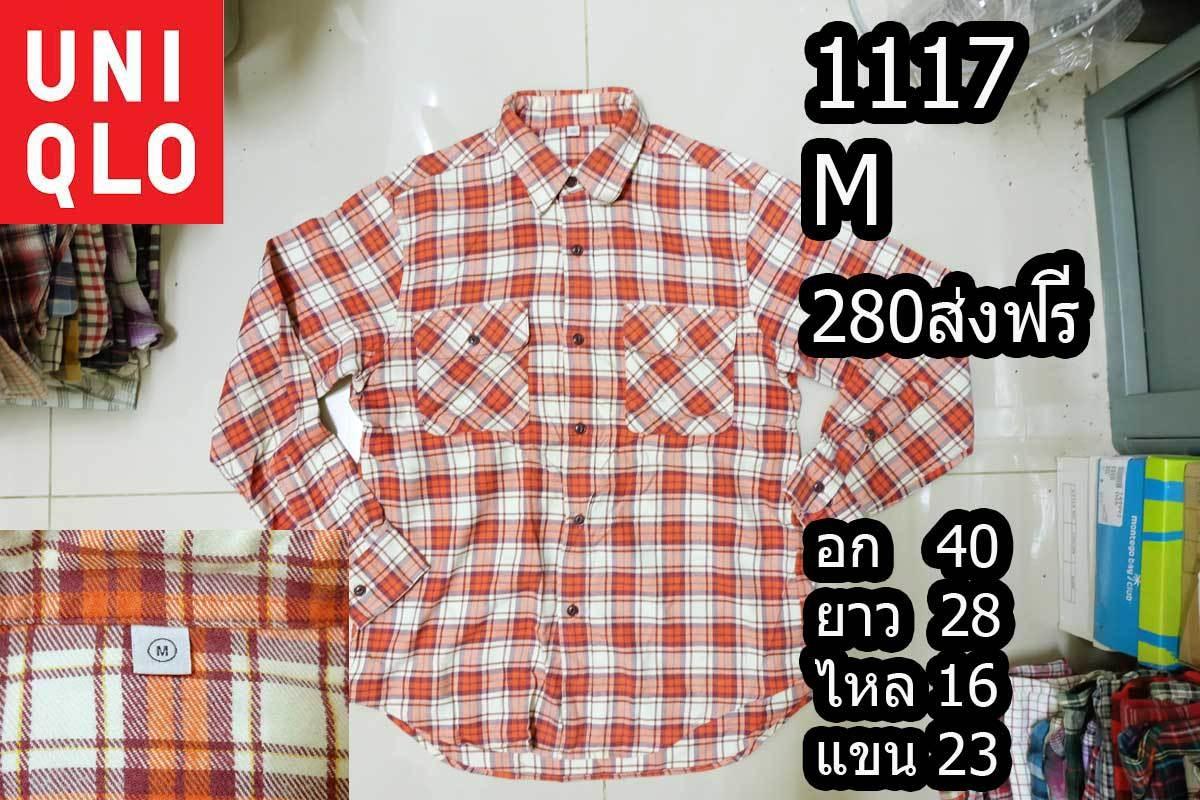 เสื้อเชิ้ตผู้ชาย เสื้อเชิ้ตลายสก็อต Size M (No.1117)