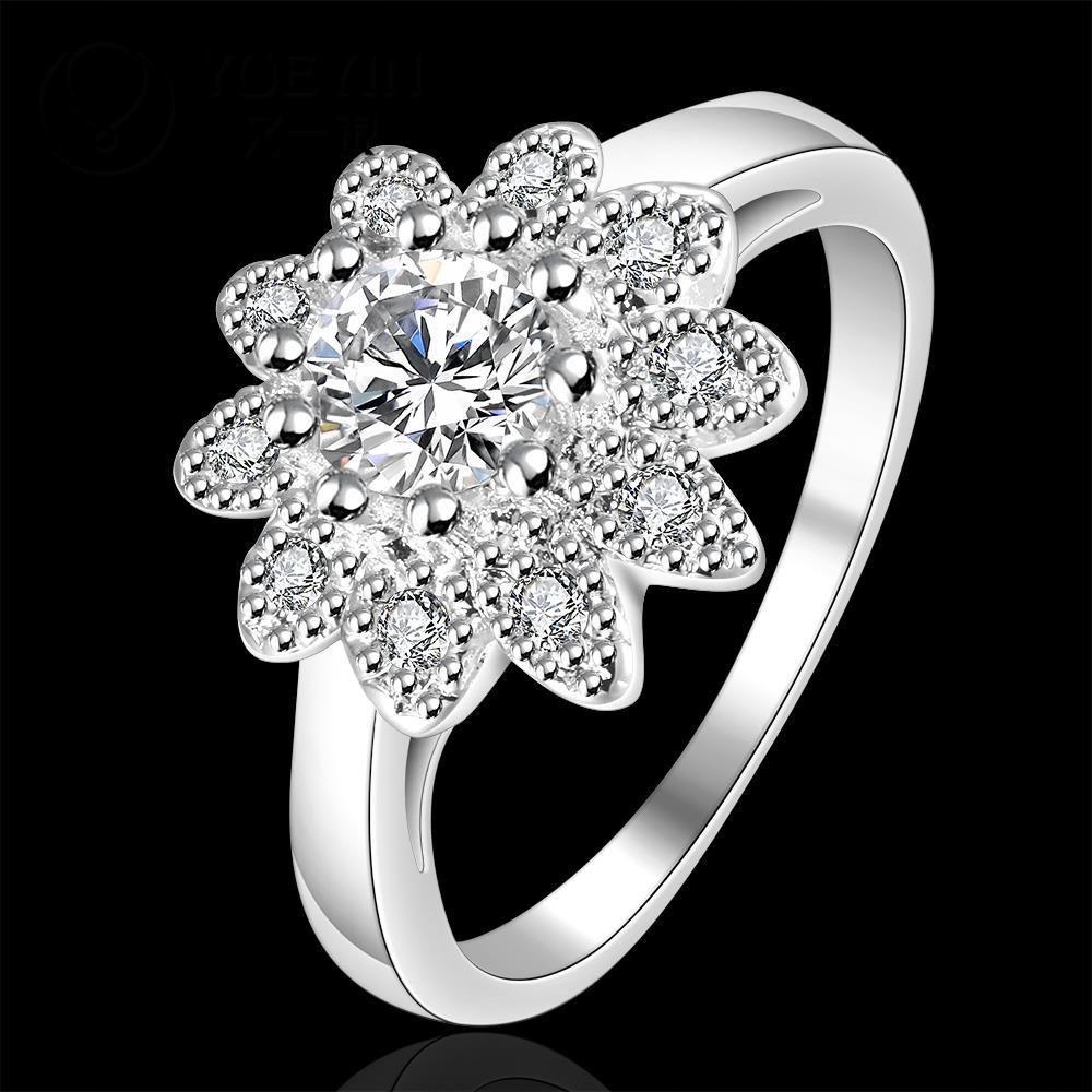 R878 แหวนเพชรCZ ตัวเรือนเคลือบเงิน 925 หัวแหวนรูปดอกไม้แต่งเพชร ขนาดแหวนเบอร์ 7