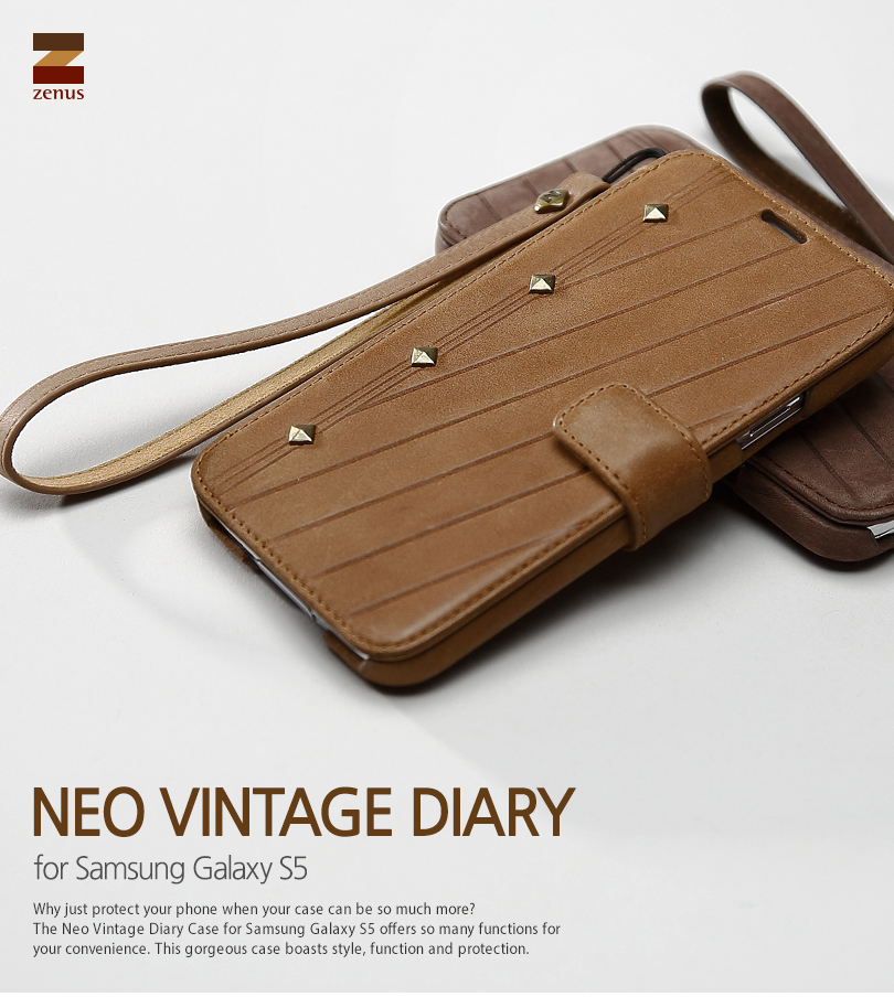 ZENUS : Neo Vintage Diary Genuine Leather Cover Case for Samsung Galaxy S5, SV, G900