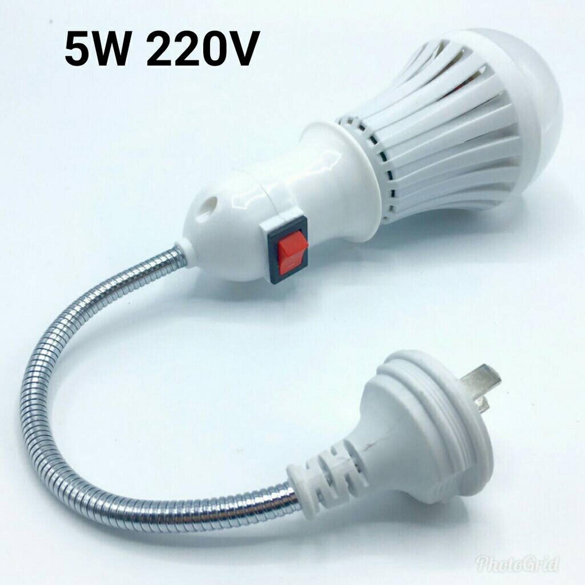 หลอดไฟอัจฉริยะฉุกเฉินแบตเตอรี่ในตัว(กันน้ำ) LED 5W 220V ( + สวิตช์โคมไฟติดผนังแบบสายยาว)