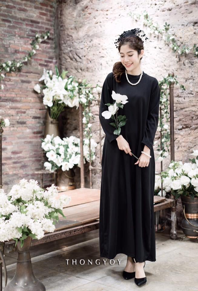 Turtle neck long sleeves maxi dress สีดำ
