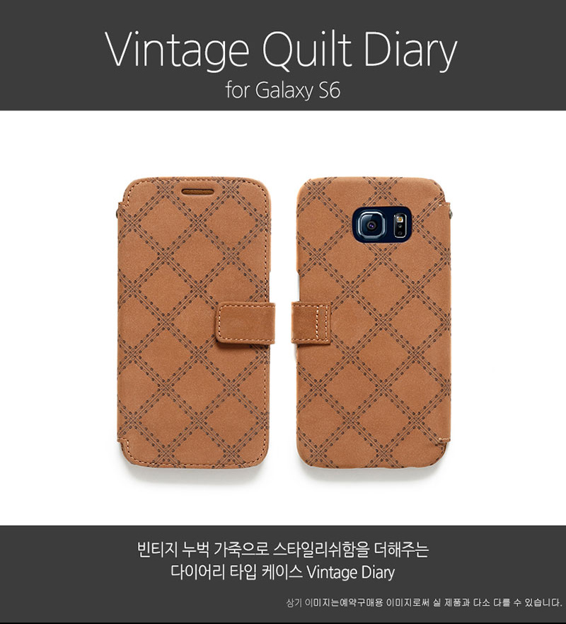 Zenus : [Vintage Quilt Diary] Nubuck Leather Wallet Cover Case For Samsung Galaxy S6