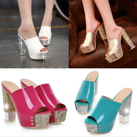 รองเท้าส้นสูง ไซต์ 34-39 สีทอง/ขาว/ชมพู/เขียว