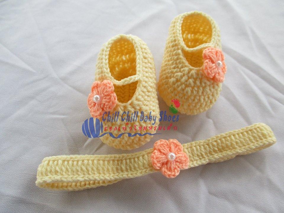 เซ็ทรองเท้า+ผ้าคาดผม สีครีมดอกไม้โอโรส ขนาด 3-6 เดือน