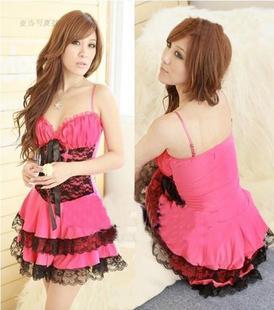 lo003 ชุดโลลิตา ชุดเจ้าหญิง ผ้ามันอย่างดี สีชมพูเข้ม สวยมากๆค่ะ