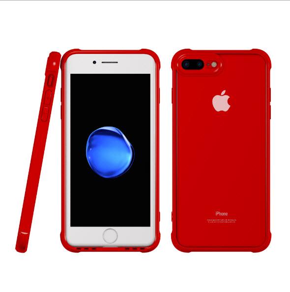 เคสไอโฟนรุ่นปกป้องกล้อง Premium (ขอบยาง หลังพลาสติกแข็ง ป้องกันเคสเหลือง) Iphone 7 (ขอบแดง หลังใส)