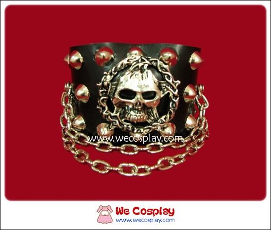 สร้อยข้อมือพังค์ Punk Wristband ตอกหมุดกลมนูนสูง ประดับหัวกะโหลกล้อมดาวและลวดหนาม
