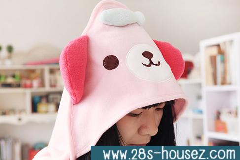 ผ้าคลุมไหล่ลายหมี สีชมพู == สินค้าหมดค่ะ ==