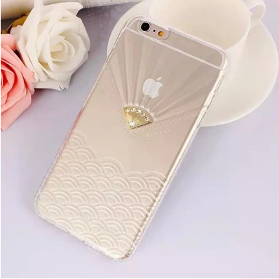 เคสไอโฟน 6 Plus / 6s Plus (TPU case หักบิดงอได้) สีขาวใส ประดับเพชรเรียบหรู