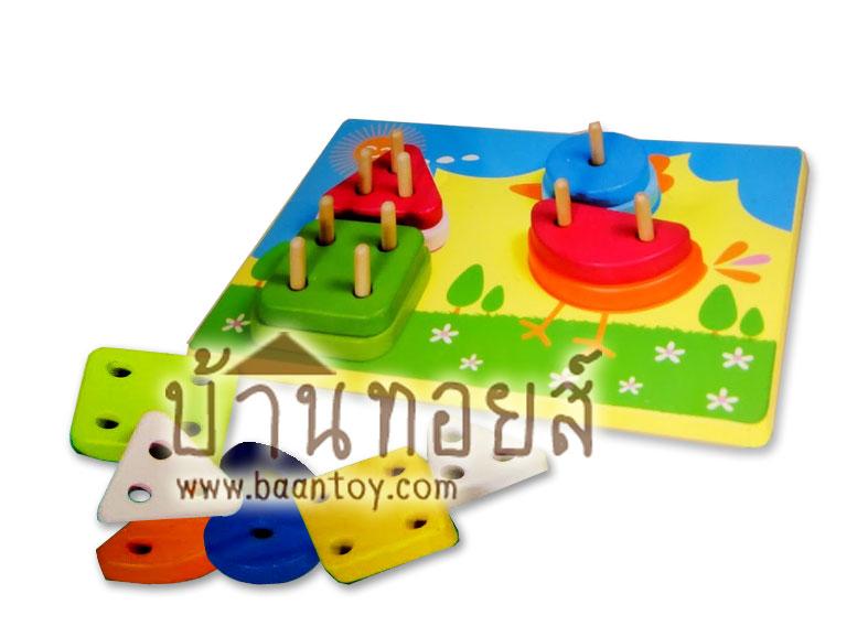 ของเล่นไม้บล็อคไม้เสียบเสา บล็อคสวมหลัก ลายไก่น้อย ของเล่นเสริมพัฒนาการ เรียนรู้รูปทรง สีสันสวยงาม เ
