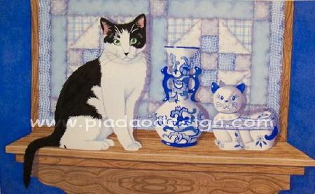 กระดาษสาพิมพ์ลาย สำหรับทำงาน เดคูพาจ Decoupage แนวภาพ ใครสวยกว่ากันจ๊ะ ระหว่างน้องแมวตัวจริง กับน้องแมวกระเบื้องเคลือบ