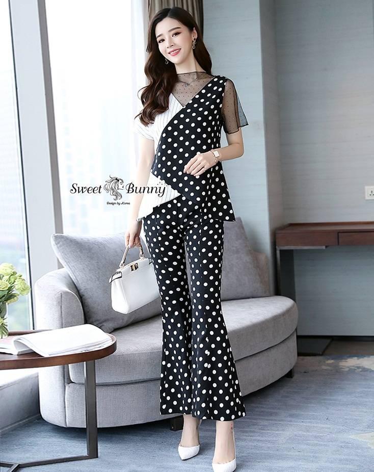 ชุดเซทแฟชั่น ชุดเซ็ทเสื้อ+กางเกงเกาหลี เนื้อผ้าหนานุ่มมีน้ำหนัก ผ้าพิมพ์ลายจุดขาวดำ