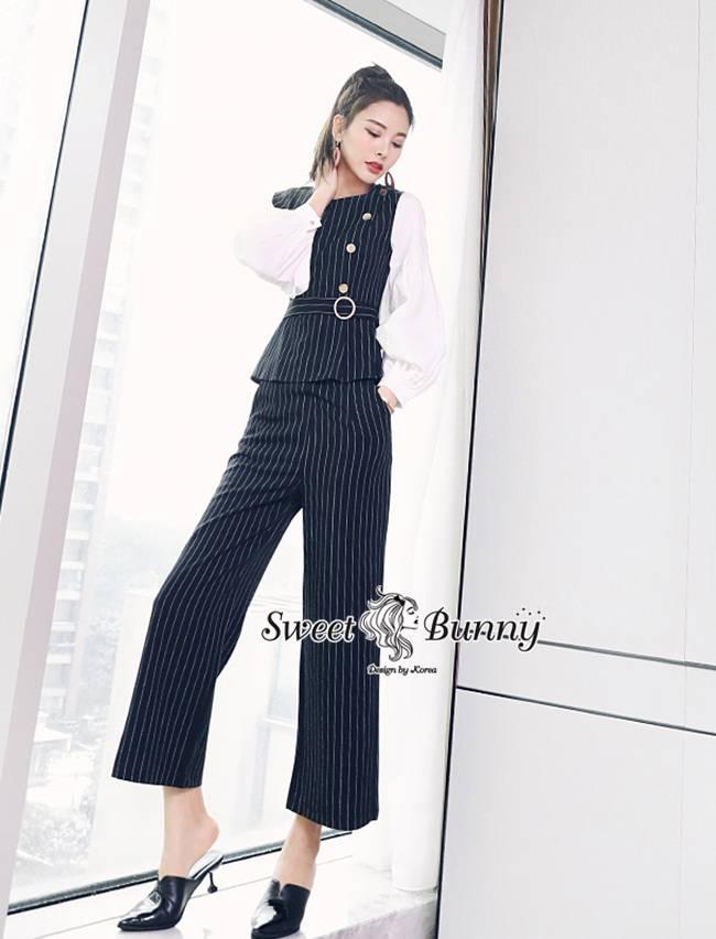 ชุดเซทแฟชั่น ชุดเซ็ทเสื้อ+กางเกงงานเกาหลี ชุดผ้าทอเนื้อดีหนานุ่มมีน้ำหนัก สีกรม