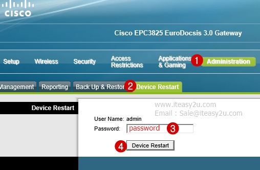 Cisco EPC 3825 Reboot